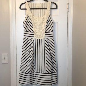 Maeve Black White Stripe Lace Midi Dress Sz 6